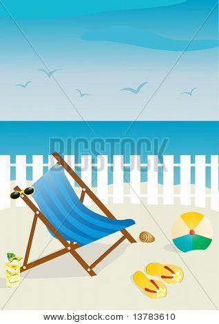 Vector illustration of beach chair with sunglasses and ball, flip-flops, cocktail on sand