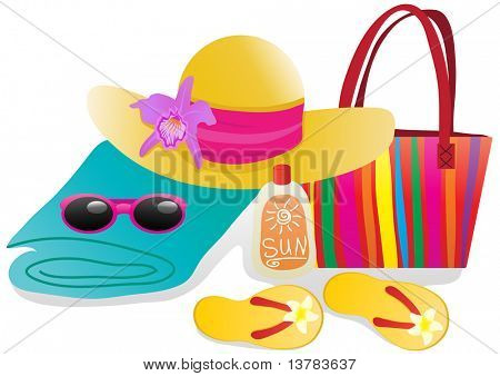 Vector illustration of beach objects for vacation