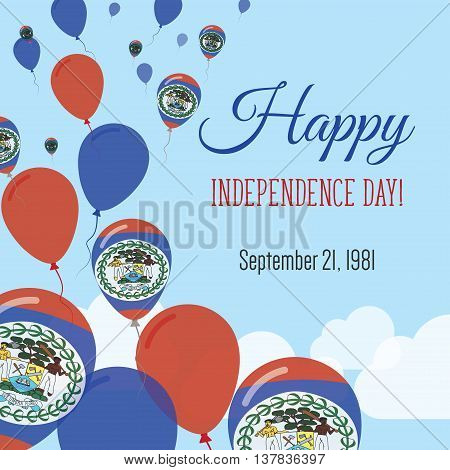 Independence Day Flat Greeting Card. Belize Independence Day. Belizean Flag Balloons Patriotic Poste