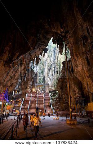 KUALA LUMPUR, MALAYSIA - January 23: Worshippers pray inside Batu caves Hindu Shrine the memory of the monk Varlaam of Antipas January 23, 2014.