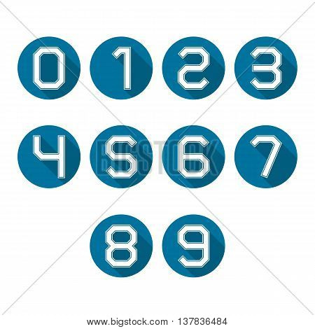 Set of round icons numbers from zero to nine with a long diagonal shadow vector illustrations.