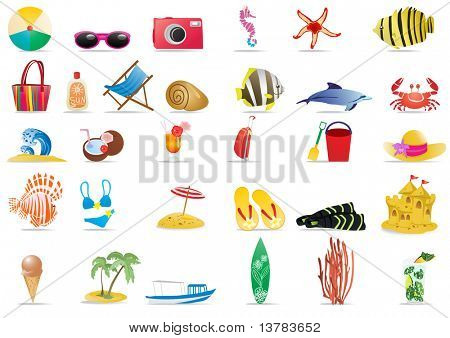 Vector illustration of summer beach travel icons