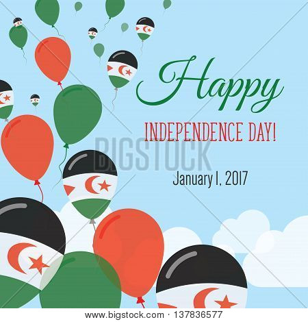 Independence Day Flat Greeting Card. Western Sahara Independence Day. Sahrawi Flag Balloons Patrioti