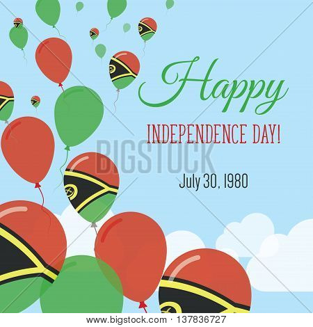 Independence Day Flat Greeting Card. Vanuatu Independence Day. Ni-vanuatu Flag Balloons Patriotic Po