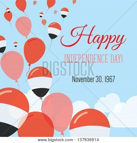 Independence Day Flat Greeting Card. Yemen Independence Day. Yemeni Flag Balloons Patriotic Poster.