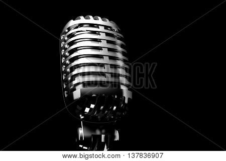 Silver retro microphone in spot light. 3D illustration