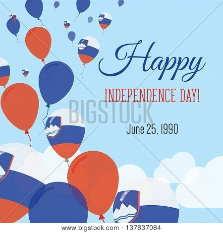 Independence Day Flat Greeting Card. Slovenia Independence Day. Slovene Flag Balloons Patriotic Post