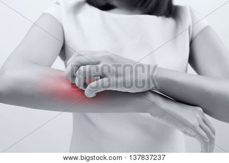 Itching In A Woman on white background