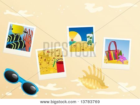Vector illustration of instant photo photos with sunglasses with seashell
