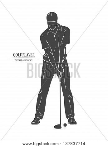 Icon golfer Hitting the club. Vector illustration.