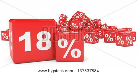 Red Sale Cubes. Eighteen Percent Discount.