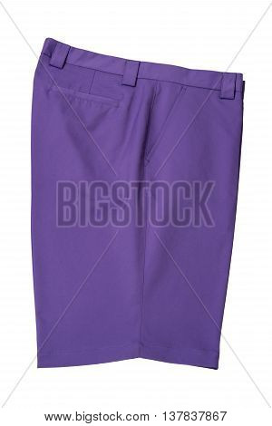 Purple short pants trousers for man or woman on white background
