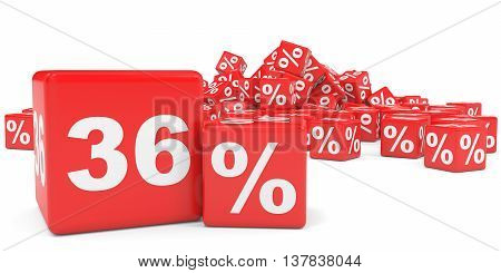 Red Sale Cubes. Thirty Six Percent Discount.