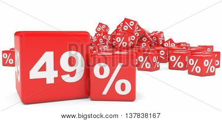 Red Sale Cubes. Forty Nine Percent Discount.