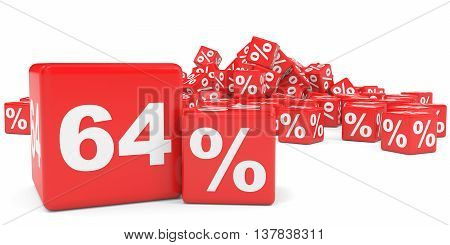 Red Sale Cubes. Sixty Four Percent Discount.
