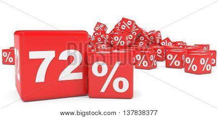 Red Sale Cubes. Seventy Two Percent Discount.