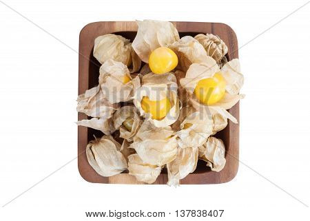 Cape gooseberry (Physalis) in wooden bowls isolated on white background