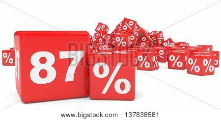 Red Sale Cubes. Eighty Seven Percent Discount.