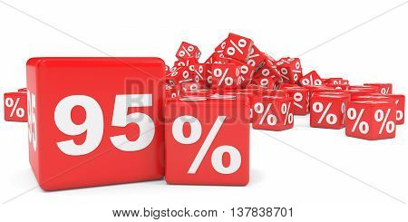 Red Sale Cubes. Ninety Five Percent Discount.