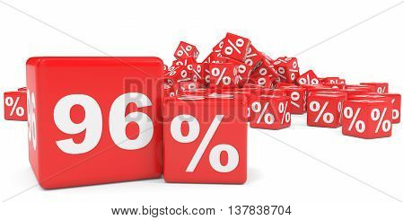 Red Sale Cubes. Ninety Six Percent Discount.