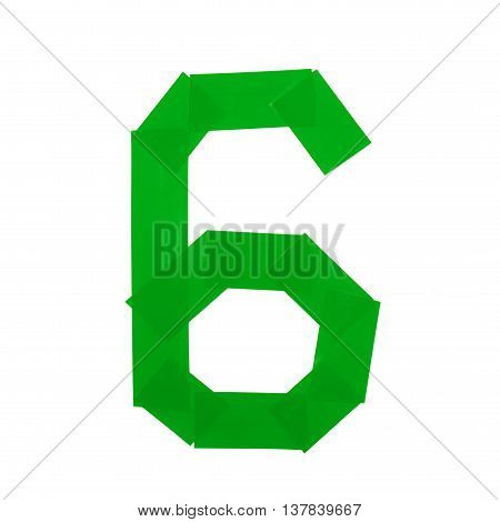 Number six symbol made of insulating tape isolated over the white background