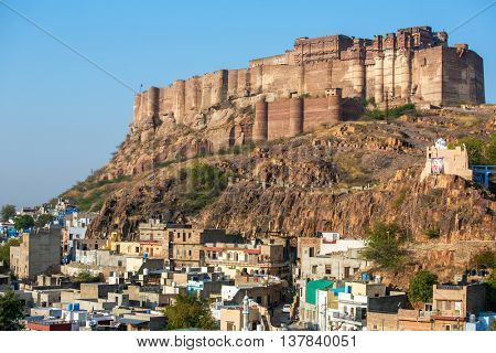 Mehrangarh fort on the hill in Jodhpur, Rajasthan, India