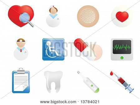 Set of hospital and medical icons, vector illustration