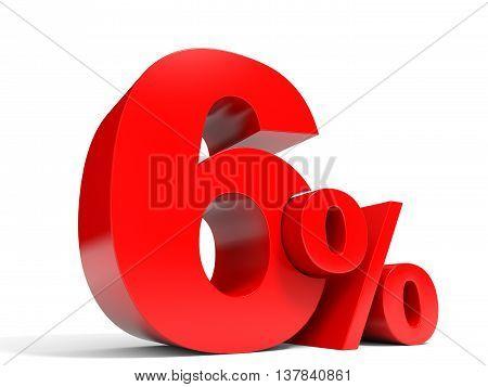 Red Six Percent Off. Discount 6%.