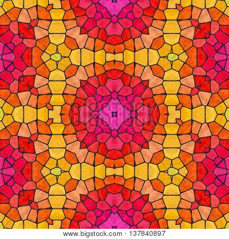 mosaic kaleidoscope seamless pattern texture background - vibrant pink red yellow and orange colored with black grout