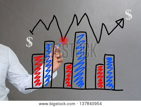 Hand of businessman drawing graphics a top point growing graph to concept of investment profit in business and have Gray wall of background.