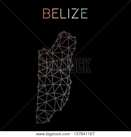 Belize Network Map. Abstract Polygonal Map Design. Network Connections Vector Illustration.