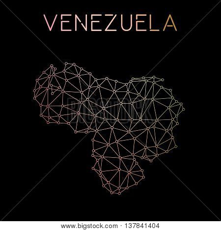 Venezuela, Bolivarian Republic Of Network Map. Abstract Polygonal Map Design. Network Connections Ve
