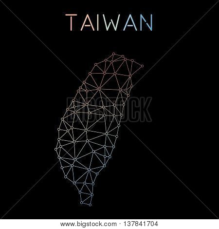 Taiwan, Republic Of China Network Map. Abstract Polygonal Map Design. Network Connections Vector Ill