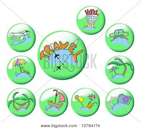 Collection of ten green travel icons, vector illustration