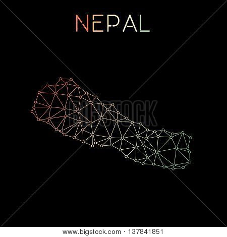Nepal Network Map. Abstract Polygonal Map Design. Network Connections Vector Illustration.