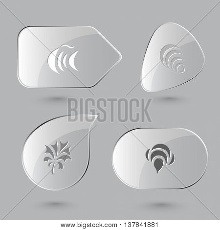 4 images: fish, hanoi pyramid, plant, bee. Abstract set. Glass buttons on gray background. Vector icons.
