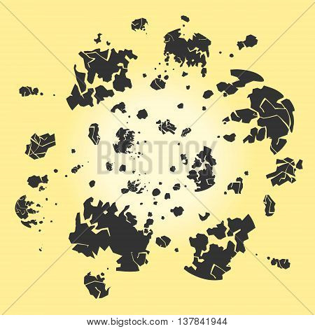 Vector Illustration Blasted Asteroid eps 8 file format