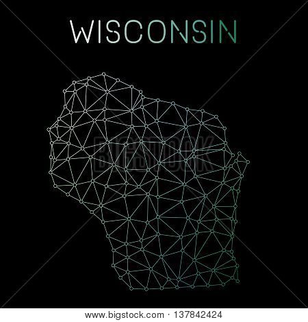 Wisconsin Network Map. Abstract Polygonal Us State Map Design. Network Connections Vector Illustrati