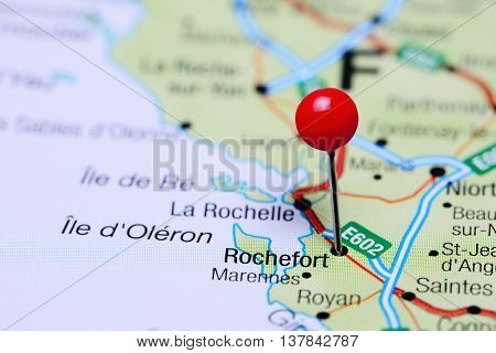 Rochefort pinned on a map of France