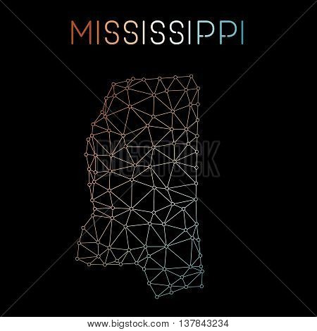 Mississippi Network Map. Abstract Polygonal Us State Map Design. Network Connections Vector Illustra