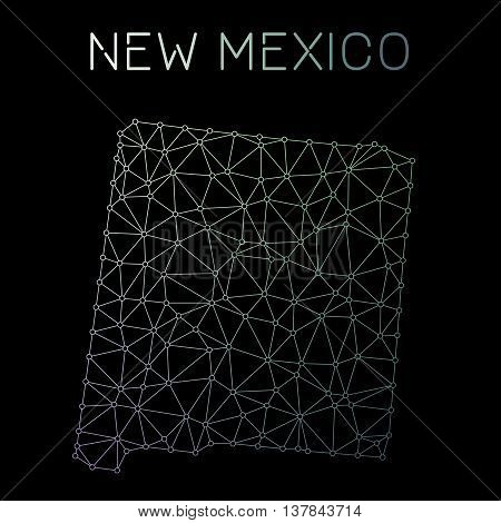 New Mexico Network Map. Abstract Polygonal Us State Map Design. Network Connections Vector Illustrat