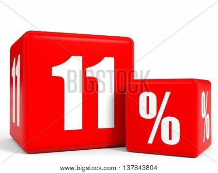 Red Sale Cubes. Eleven Percent Discount.