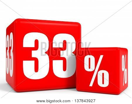 Red Sale Cubes. Thirty Three Percent Discount.