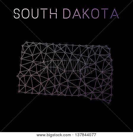 South Dakota Network Map. Abstract Polygonal Us State Map Design. Network Connections Vector Illustr