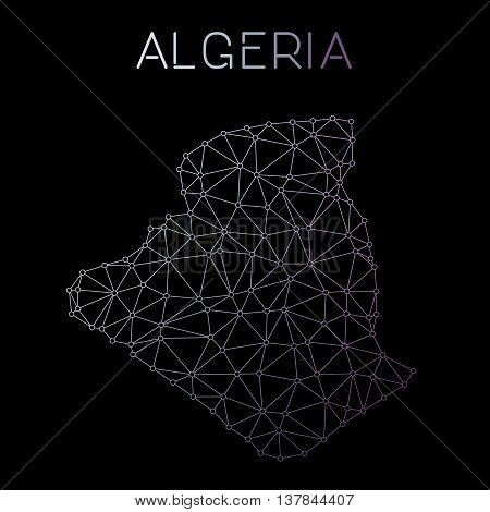 Algeria Network Map. Abstract Polygonal Map Design. Network Connections Vector Illustration.