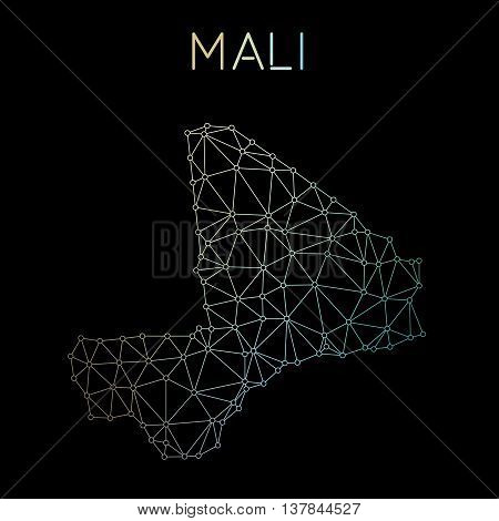 Mali Network Map. Abstract Polygonal Map Design. Network Connections Vector Illustration.