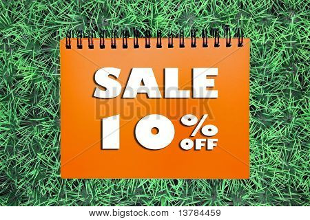 10% Sale Sign On Grass Background