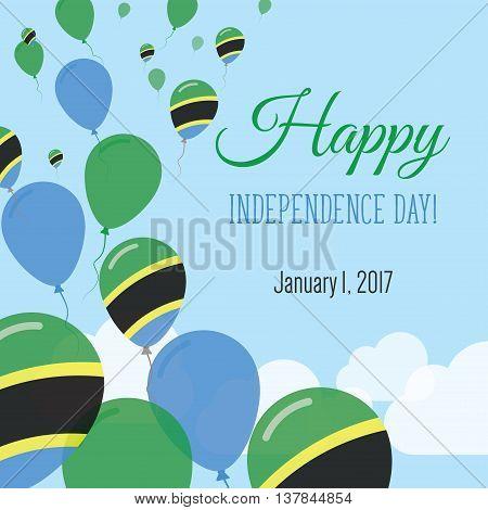 Independence Day Flat Greeting Card. Tanzania, United Republic Of Independence Day. Tanzanian Flag B