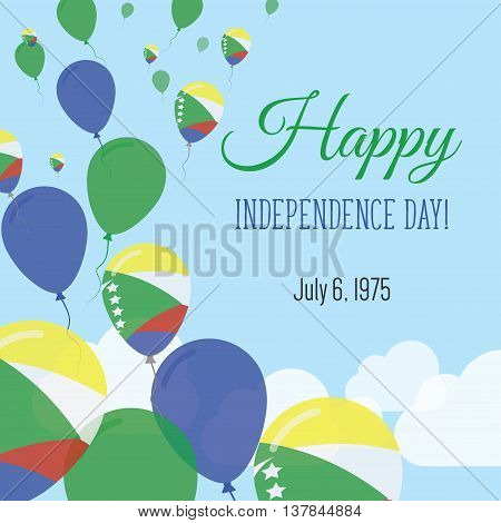 Independence Day Flat Greeting Card. Comoros Independence Day. Comoran Flag Balloons Patriotic Poste
