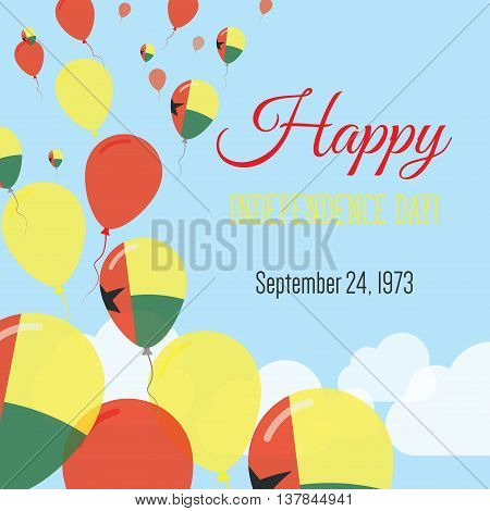 Independence Day Flat Greeting Card. Guinea-bissau Independence Day. Guinea-bissauan Flag Balloons P